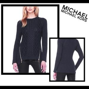 Michael Kors Black zit-slit cable sweater